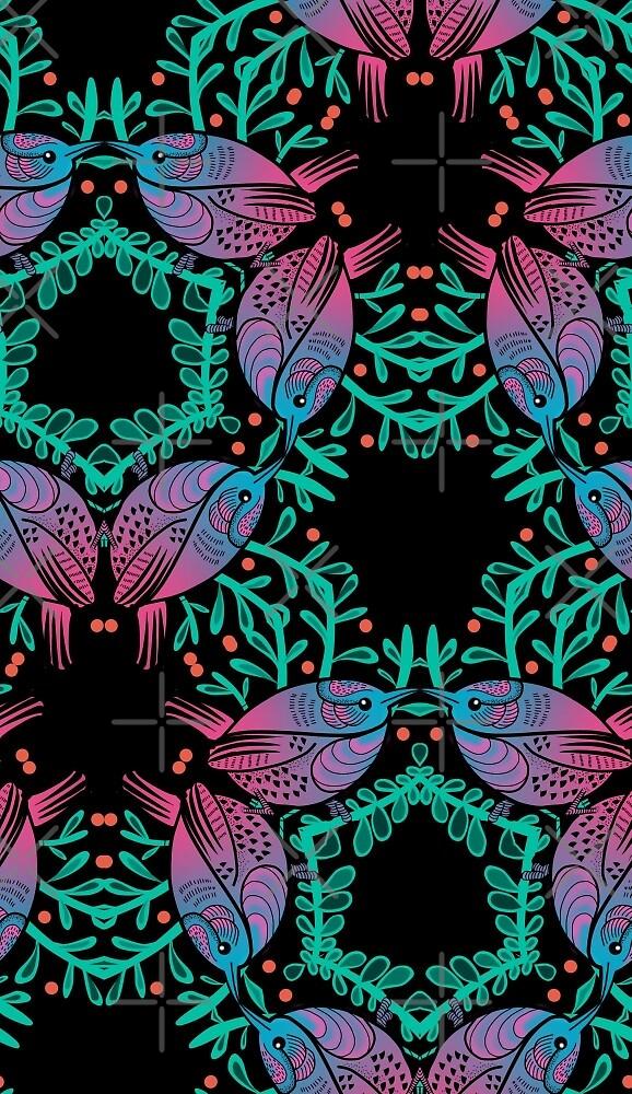 Birds and Berries Pattern by Helen Aldous