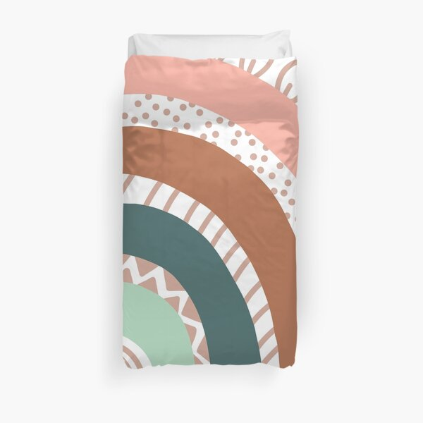 Pastel Rainbow with Hand Drawn Details Duvet Cover