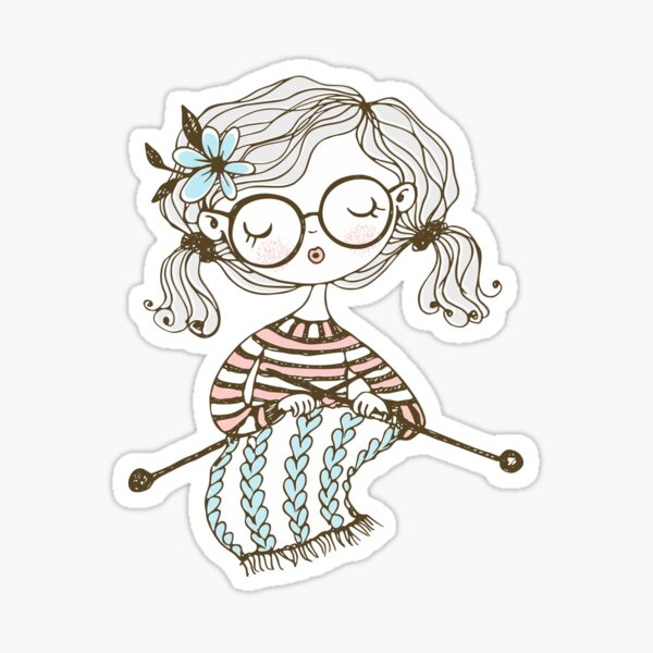 Lovely girl Knitting a Scarf Sticker