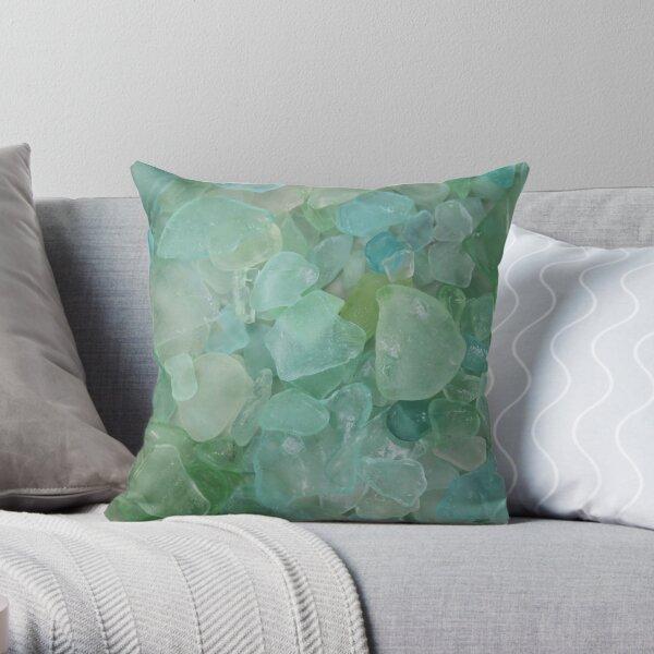 Aqua Sea Glass Throw Pillow