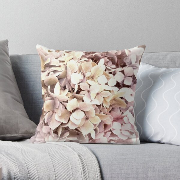 Hydrangea Pink Romance Throw Pillow