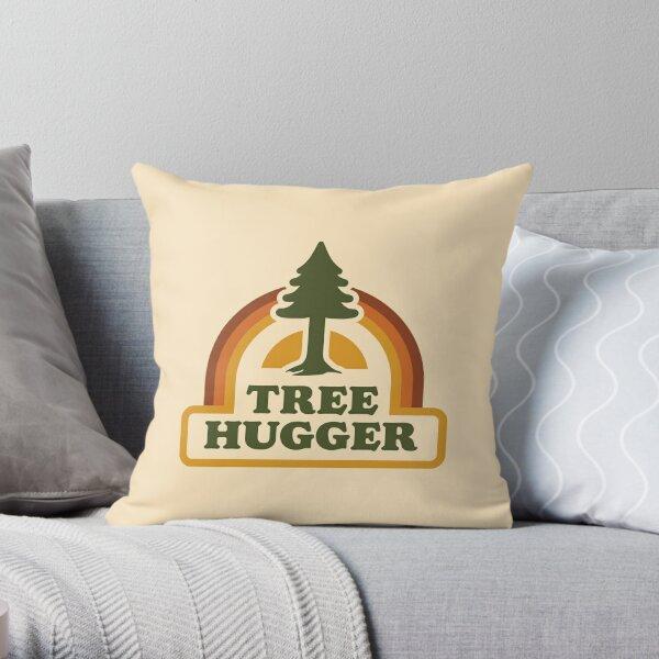 Retro Tree Hugger Throw Pillow