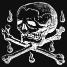 Skull & Crossbones (white on dark) by Hawthorn Mineart