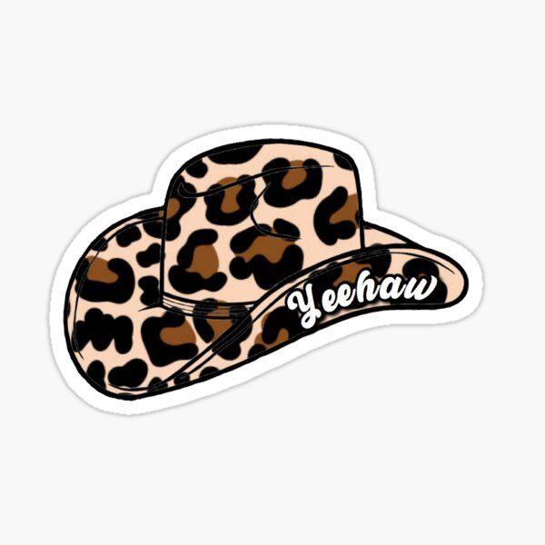 Yeehaw Cheetah Cowboy Hat Sticker