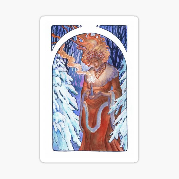 Winter Light Yule Goddess with Candle Art Nouveau Spirits of Winter Series Sticker