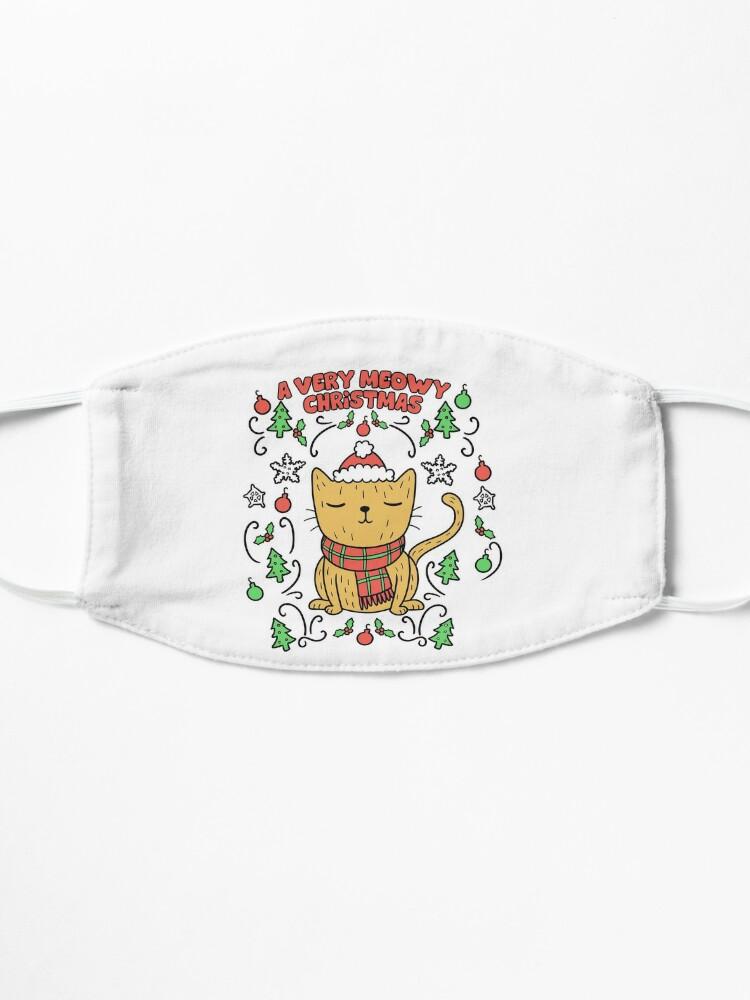 Alternate view of Very Meowy Christmas Cat | Vintage Retro Kitty Mask
