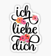 German Ich Liebe Dich I Love You Floral Typography Sticker