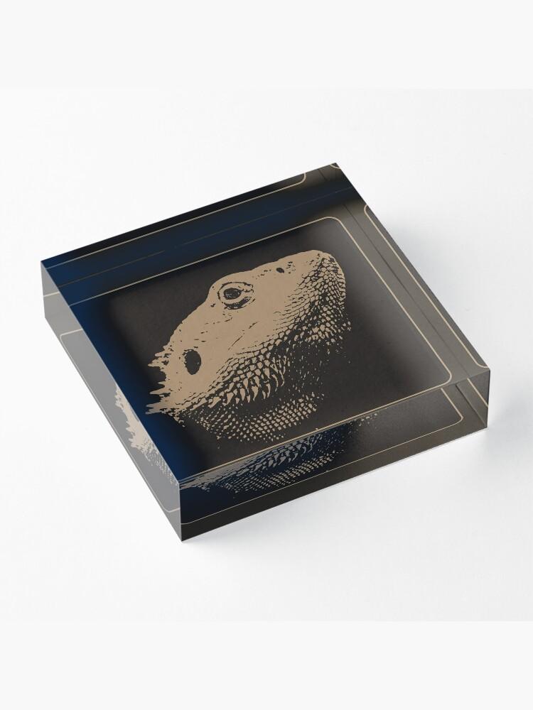 Alternate view of Bearded Dragon Head In Beige Acrylic Block