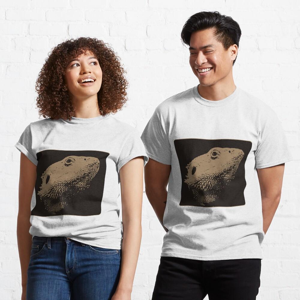Bearded Dragon Head In Beige Classic T-Shirt