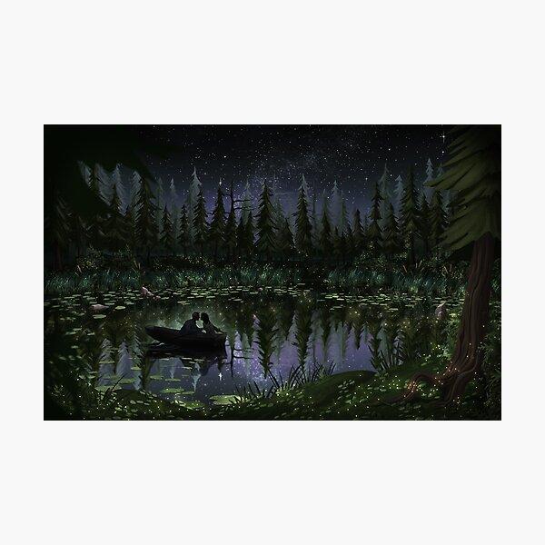 Milky Way Row Boat Lake First Kiss Art Photographic Print