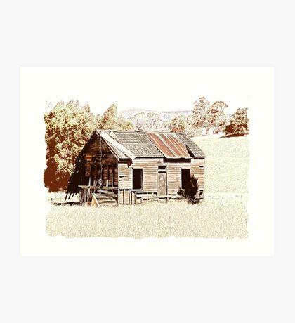 Old shingle roof building  Art Print