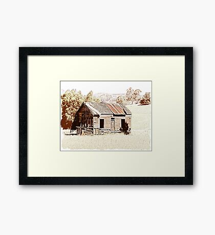 Old shingle roof building  Framed Print