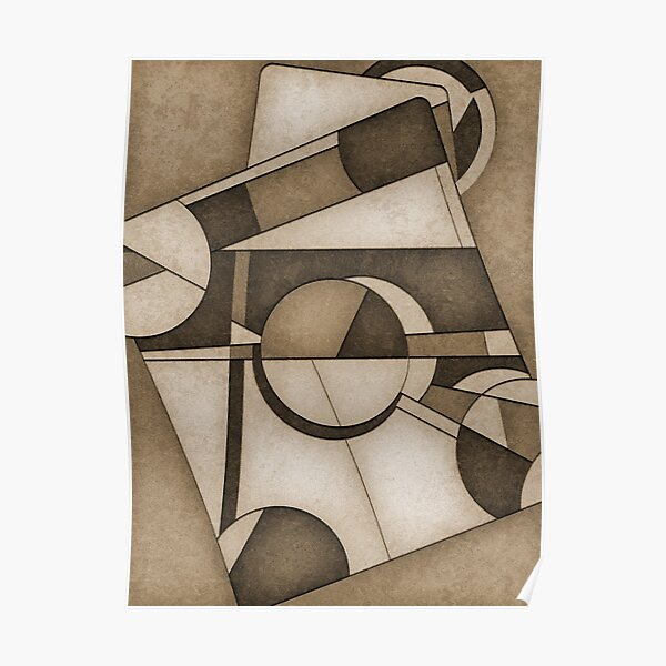 Sepia Mid Century Modern Abstract Composition Poster