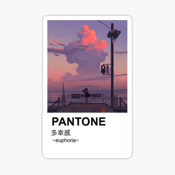 Pantone Aesthetic Anime Japanese Sunset Sea Sticker