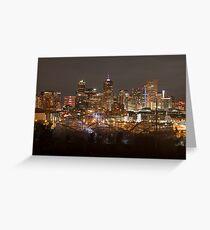 Denver Skyline At Night Greeting Card