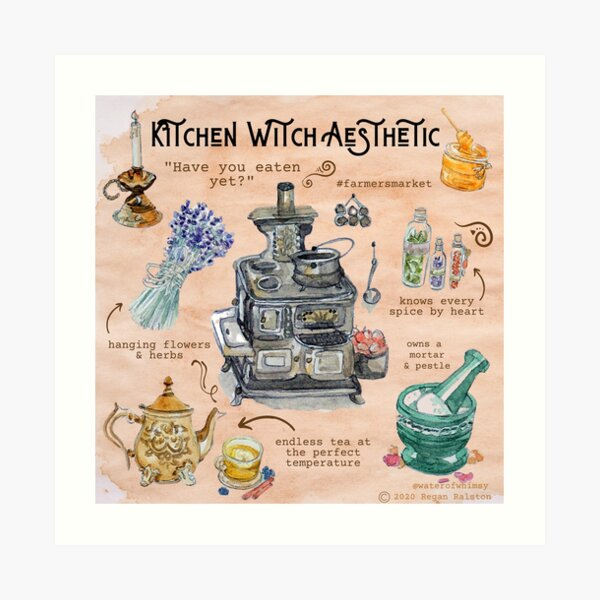 Kitchen Witch Aesthetic Illustration in Watercolor Art Print