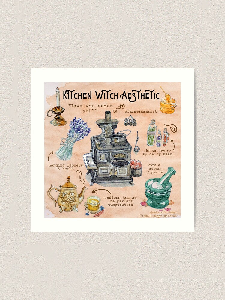 Alternate view of Kitchen Witch Aesthetic Illustration in Watercolor Art Print
