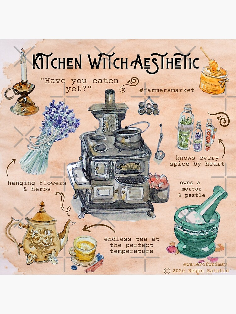Kitchen Witch Aesthetic Illustration in Watercolor by WitchofWhimsy