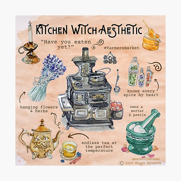 Kitchen Witch Aesthetic Illustration in Watercolor Photographic Print