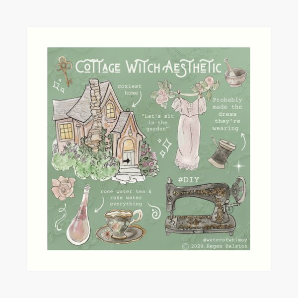 Cottage Witch Aesthetic Illustration in Watercolor Art Print