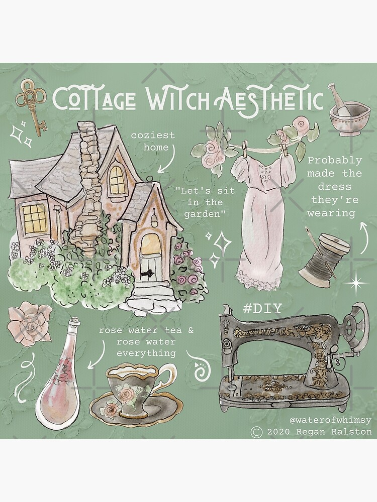 Cottage Witch Aesthetic Illustration in Watercolor by WitchofWhimsy