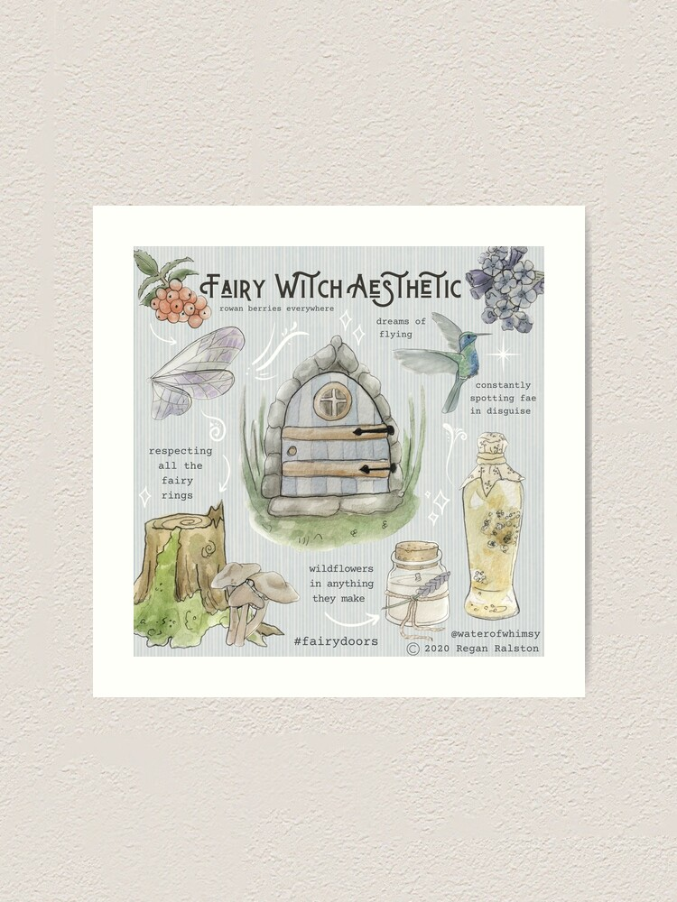 Alternate view of Fairy Witch Aesthetic Illustration in Watercolor Art Print