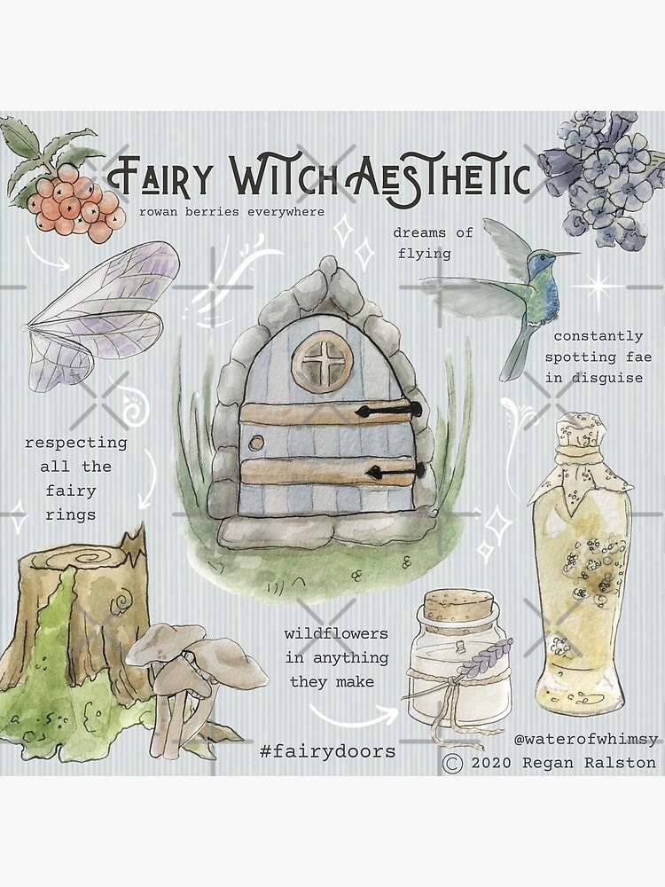 Fairy Witch Aesthetic Illustration in Watercolor by WitchofWhimsy
