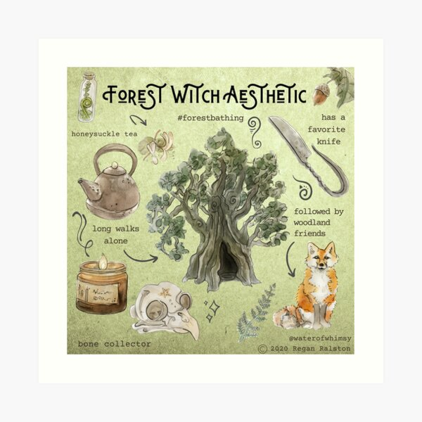 Forest Witch Aesthetic Illustration in Watercolor Art Print