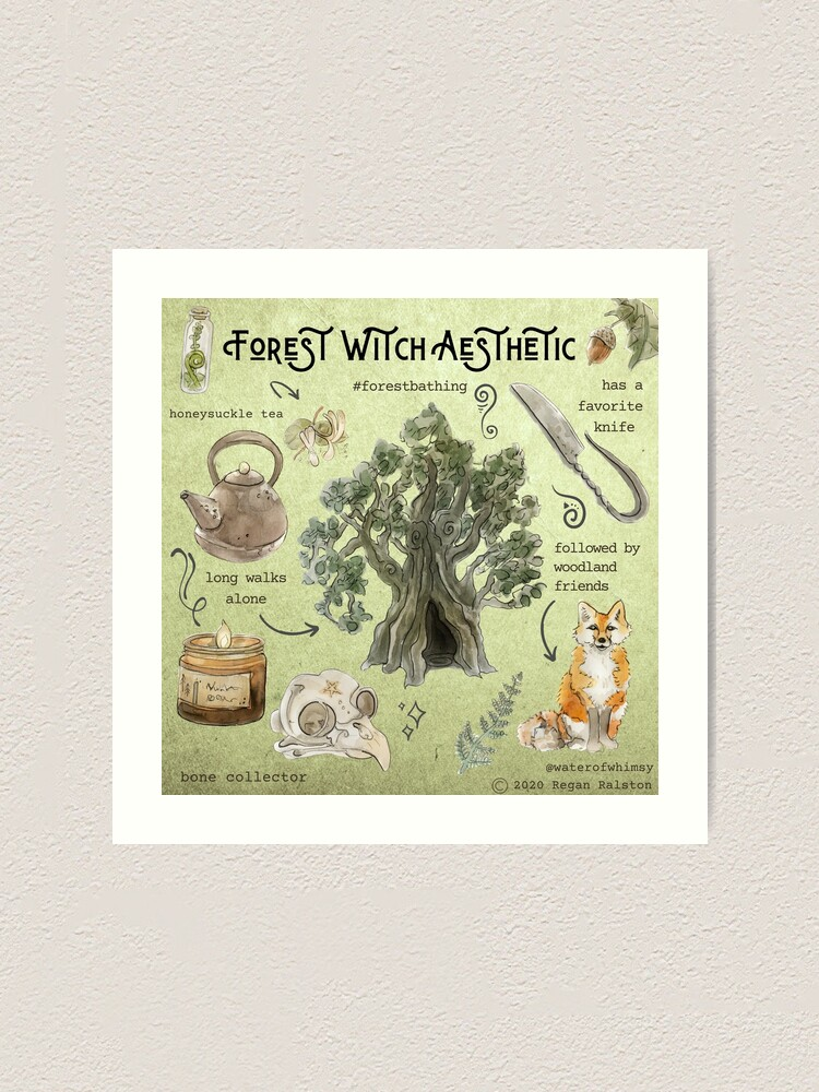 Alternate view of Forest Witch Aesthetic Illustration in Watercolor Art Print