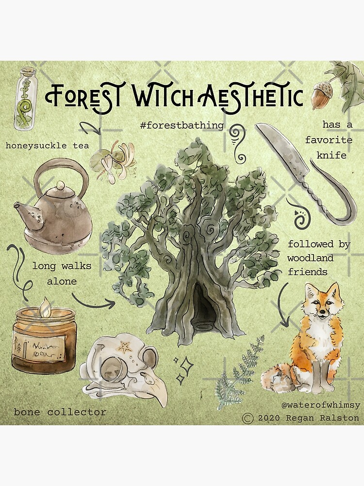 Forest Witch Aesthetic Illustration in Watercolor by WitchofWhimsy