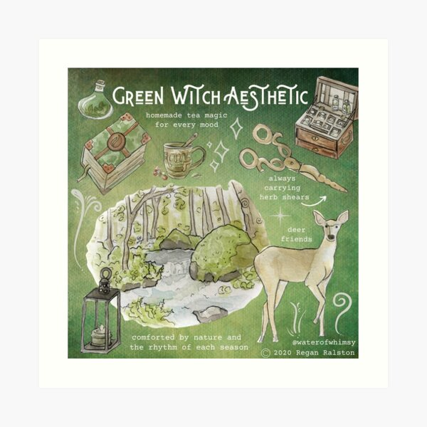 Green Witch Aesthetic Illustration in Watercolor Art Print