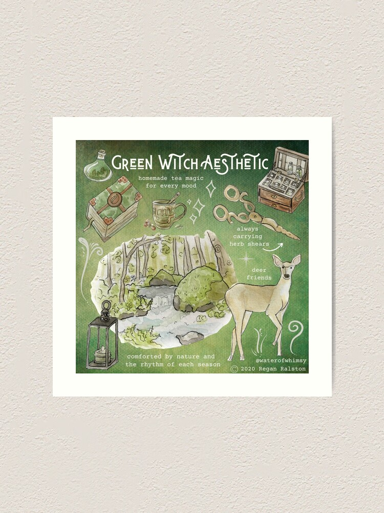 Alternate view of Green Witch Aesthetic Illustration in Watercolor Art Print