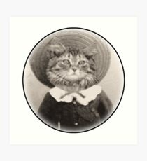 vintage hat cat Art Print