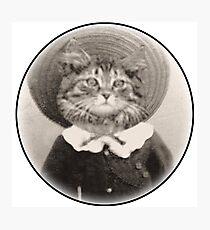 vintage hat cat Photographic Print