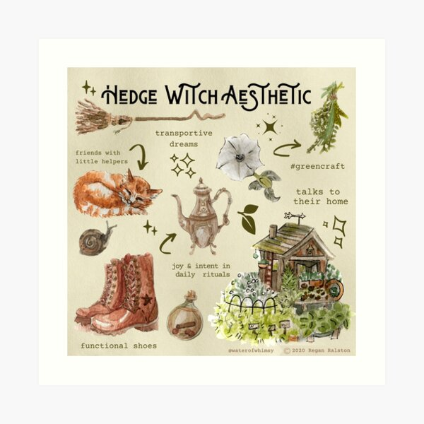 Hedge Witch Aesthetic Illustration in Watercolor Art Print