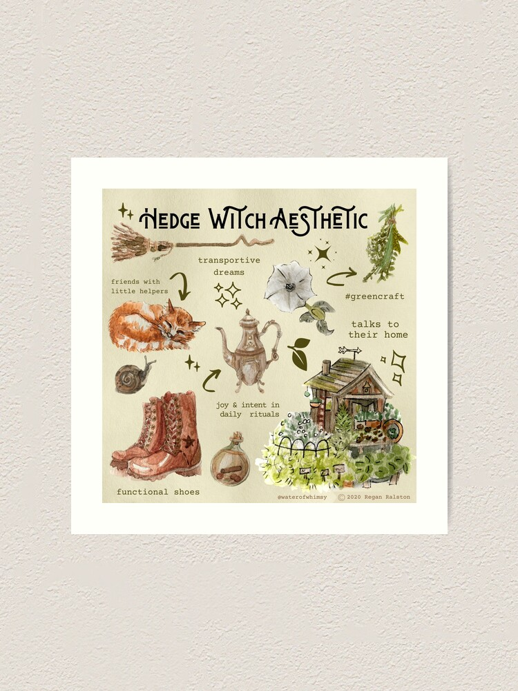 Alternate view of Hedge Witch Aesthetic Illustration in Watercolor Art Print