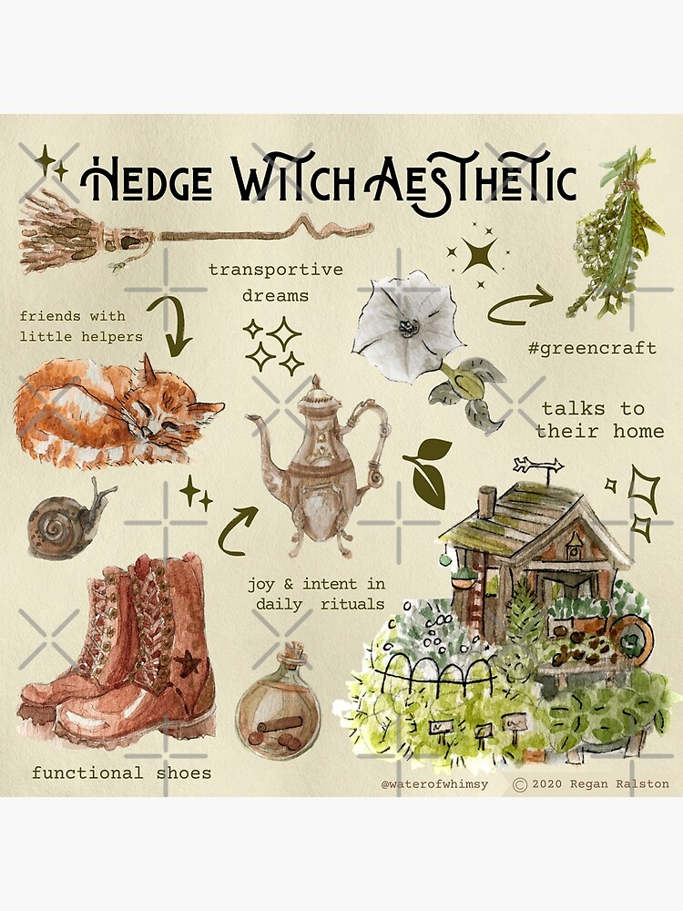 Hedge Witch Aesthetic Illustration in Watercolor by WitchofWhimsy