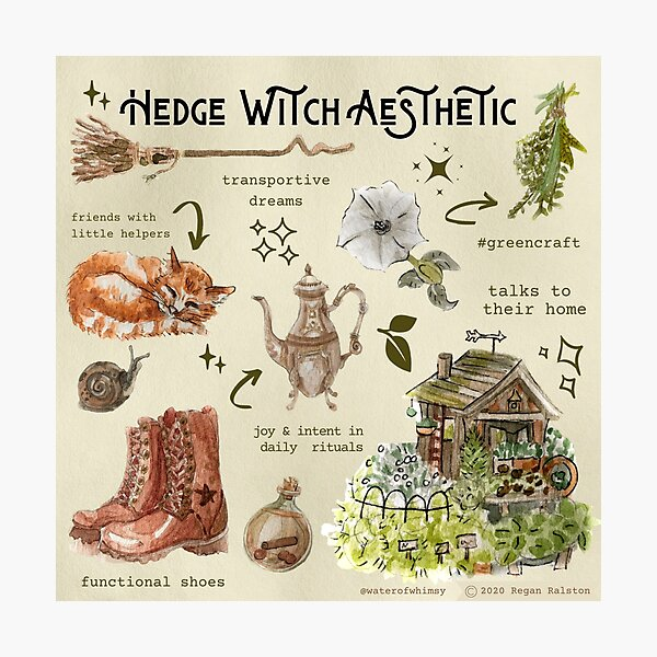 Hedge Witch Aesthetic Illustration in Watercolor Photographic Print