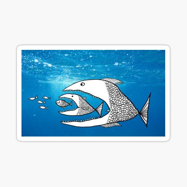 Big Fish Eat Small Fish Sticker