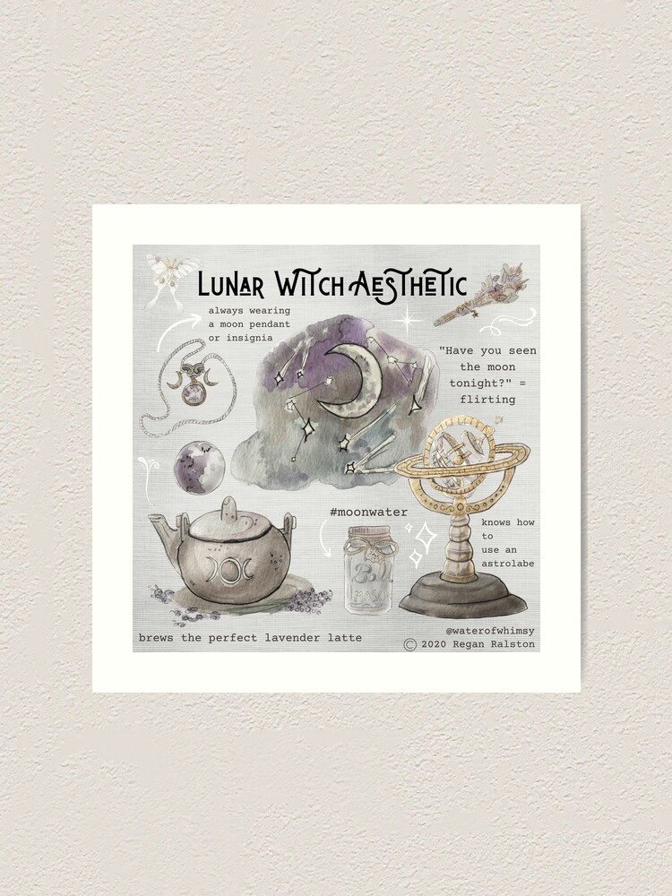 Alternate view of Lunar Witch Aesthetic Illustration in Watercolor Art Print