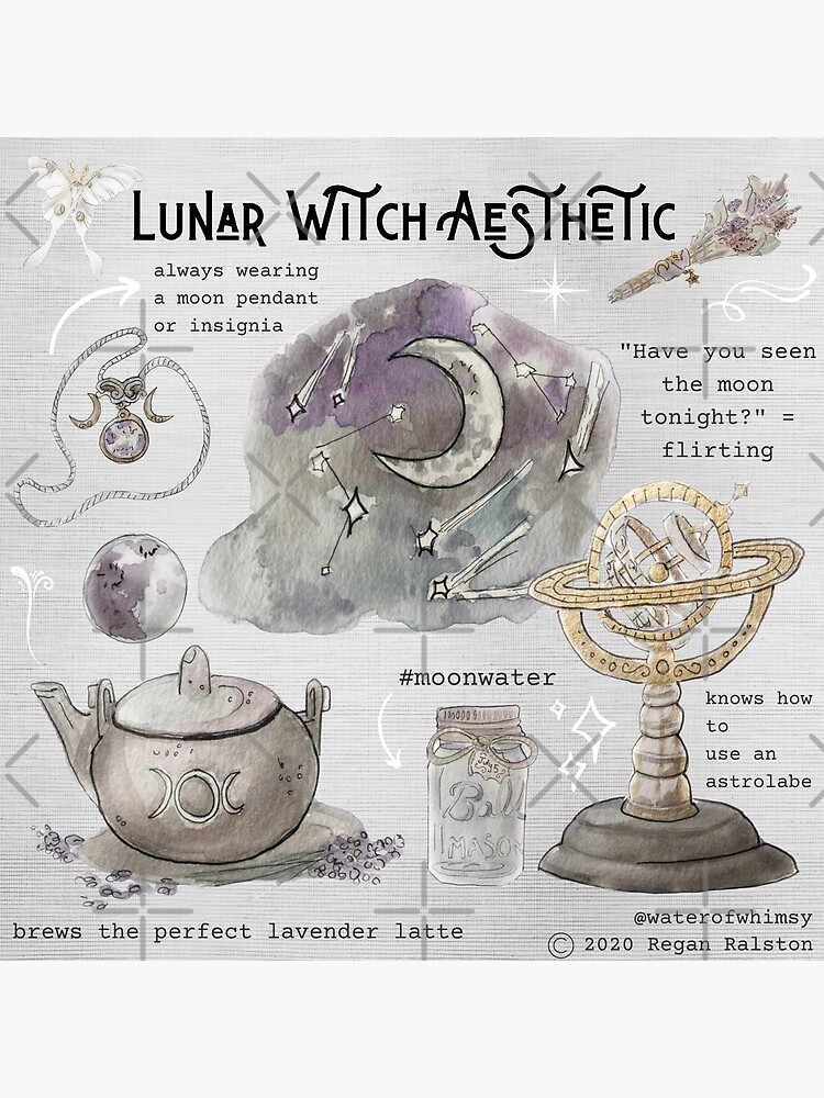 Lunar Witch Aesthetic Illustration in Watercolor by WitchofWhimsy