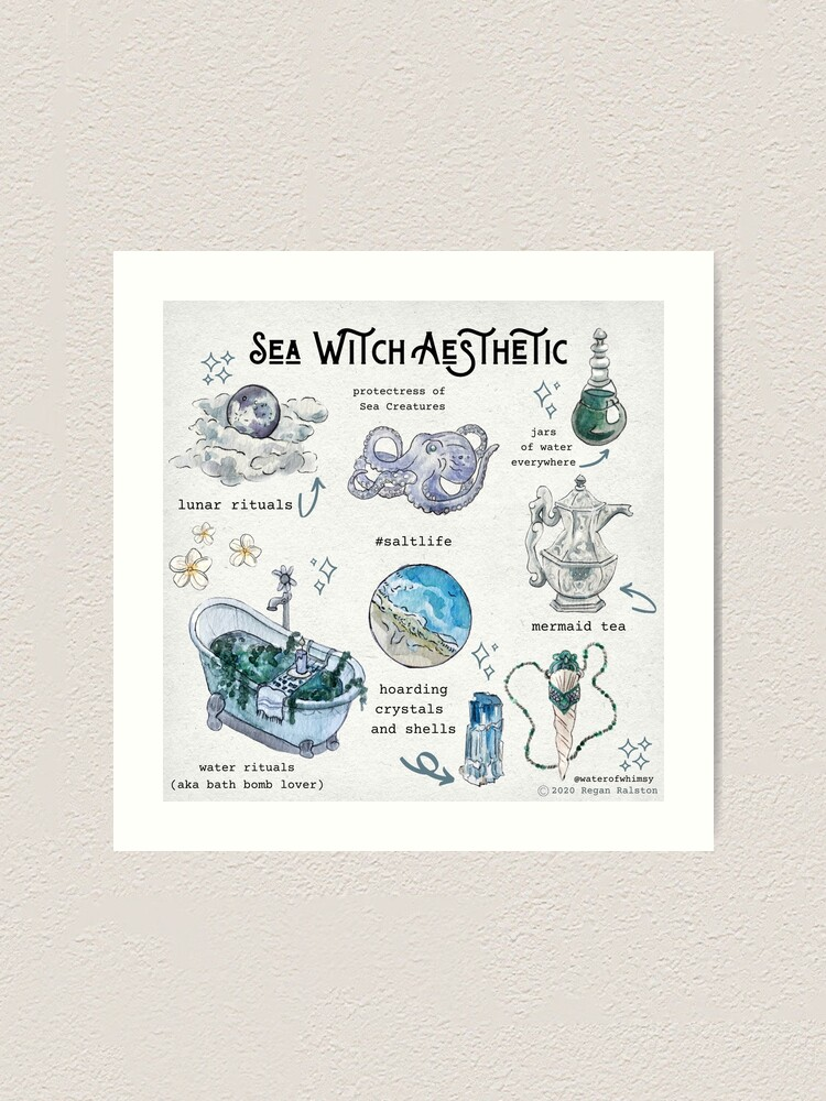 Alternate view of Sea Witch Aesthetic Illustration in Watercolor Art Print