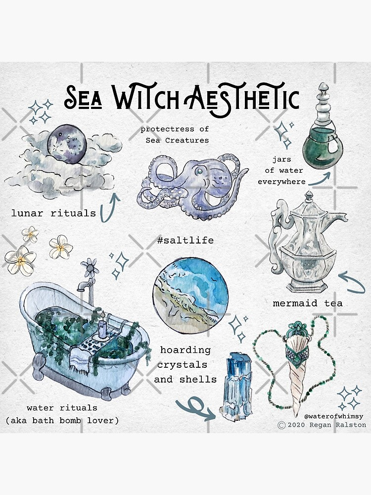 Sea Witch Aesthetic Illustration in Watercolor by WitchofWhimsy