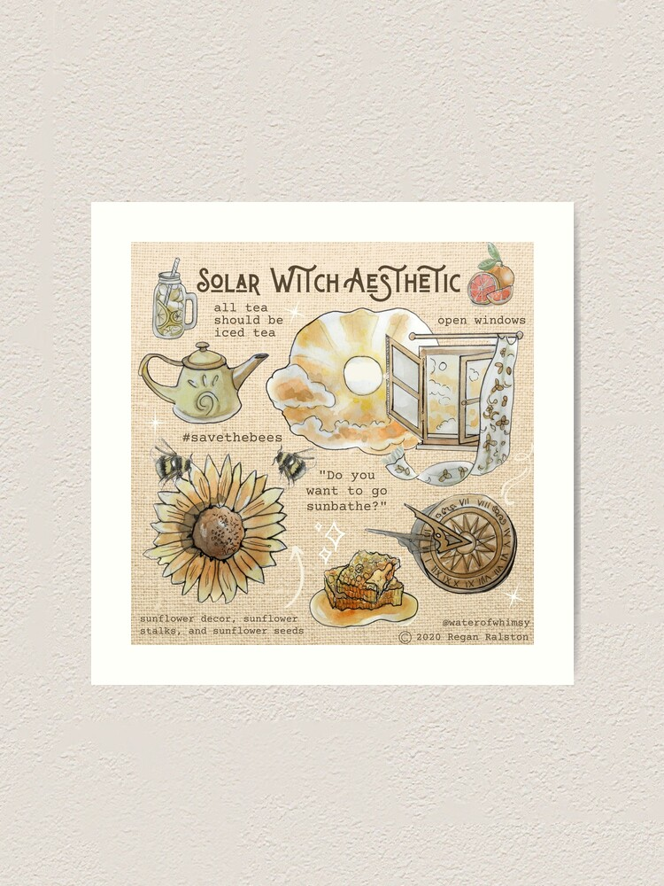 Alternate view of Solar Witch Aesthetic Illustration in Watercolor Art Print