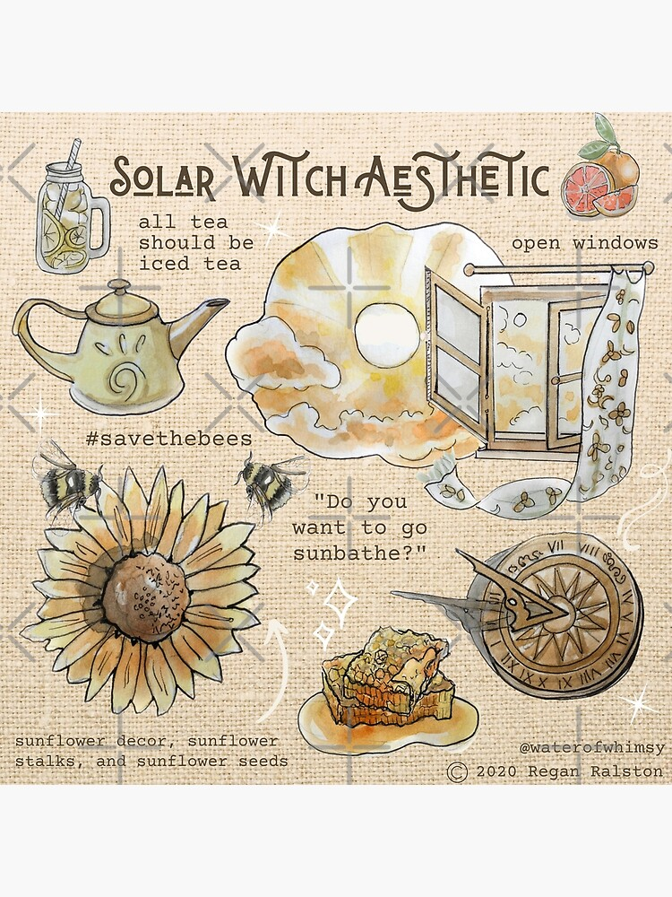 Solar Witch Aesthetic Illustration in Watercolor by WitchofWhimsy