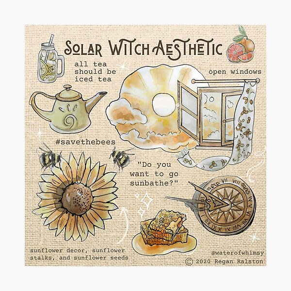 Solar Witch Aesthetic Illustration in Watercolor Photographic Print