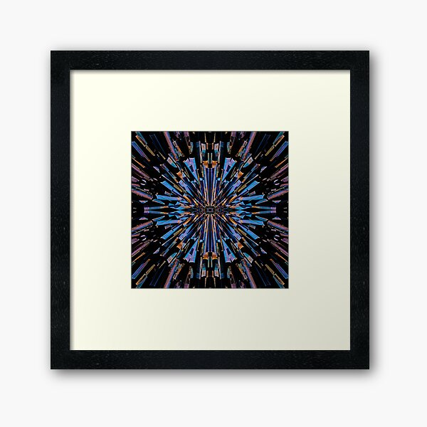 Psychedelic abstract blue and orange explosion Framed Art Print