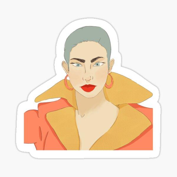 80s Style Nagel Inspired City Fashion Girl   Sticker