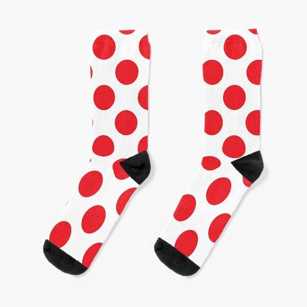 Red Polka Dot Jersey   Tour de France Pattern Socks