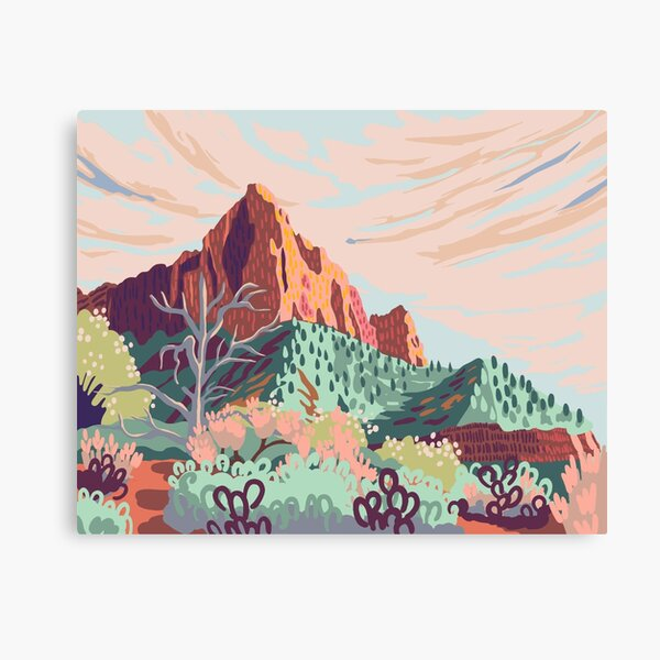 Pastel Rainbow Watchman in Zion National Park Painting Canvas Print